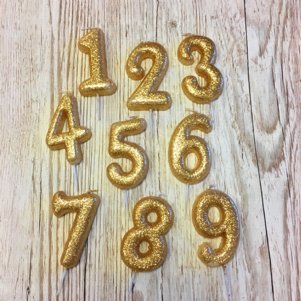 Glitter Numeral Gold Candles